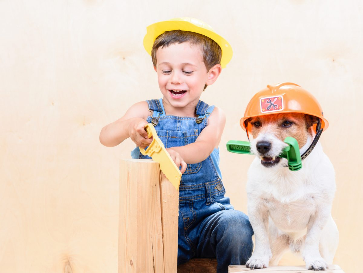 Kid and dog wearing hardhats working with saw and hammer at construction site