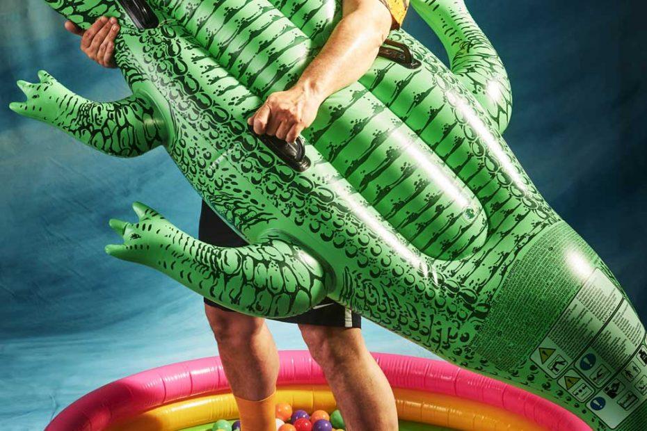 Kapitän Jürgen mit Krokodil